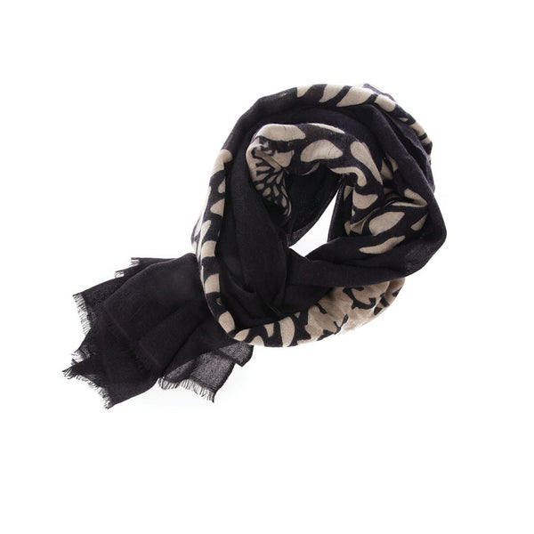 Beautiful and chic print on neutral black cashmere scarf. Perfect for travel, office, casual wear.