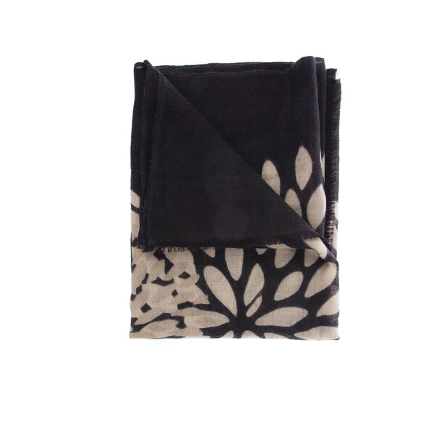Classic Black and Beige Neutral Cashmere Scarf. Versatile and Luxurious. Wear it anywhere, everywhere.