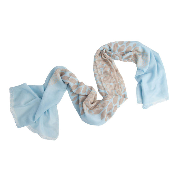 Sarasa 100% Cashmere Long Scarf (Light Blue)