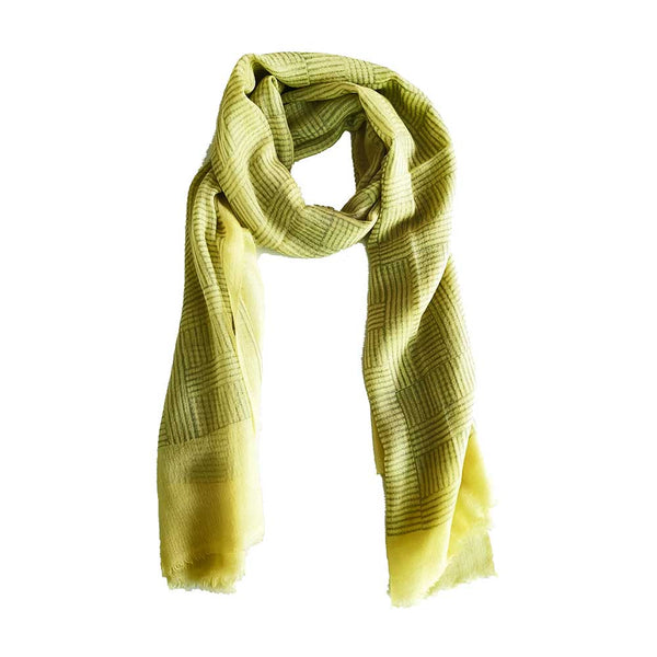 Sanganer Modern Striped Blockprinted Yellow Twill Cashmere Scarf 200 x 70cm