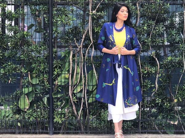 ZEN GARDEN 2-IN-1 CHANDERI SILK WRAP DRESS JACKET BLUE