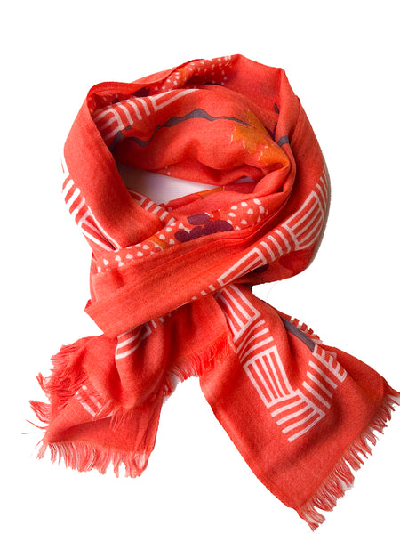 Zen Garden Orange 100% Cashmere Scarf