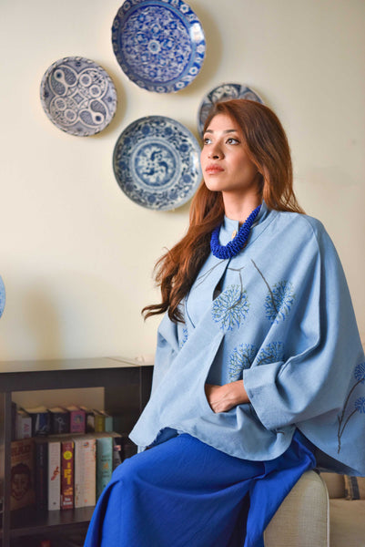 TROPICAL JOURNEY KHADI COTTON JACKET BLUE