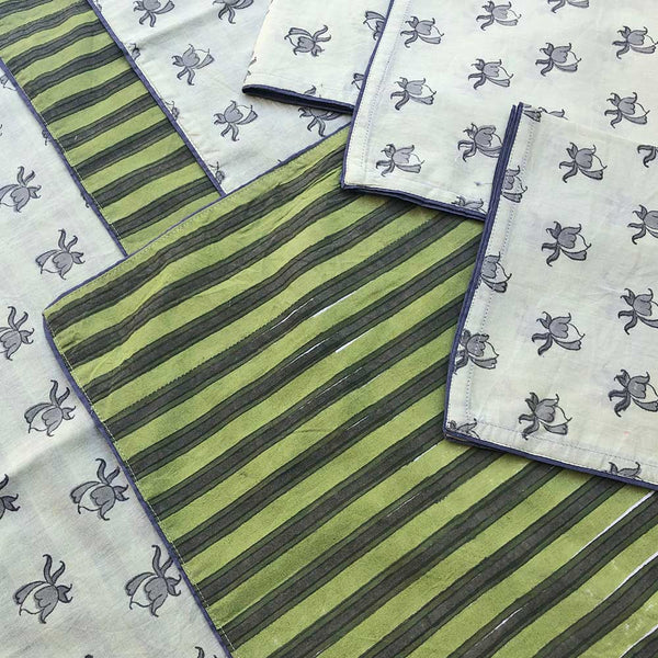 Mix and Match Collection-Green, Grey and White,  RoseBud and Stripe Placemats with Napkins (Set of 4)