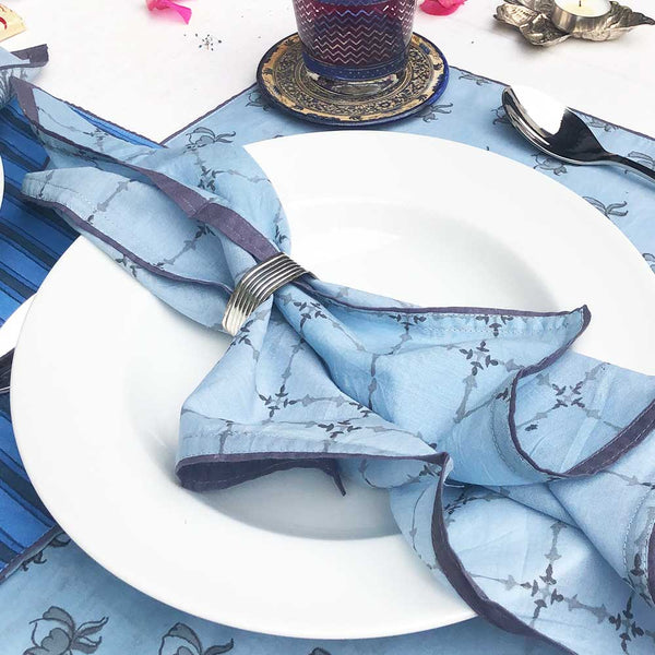 Mix and Match Collection-Blue, Black and Grey,  Diya and Stripe Placemats with Napkins (Set of 4)