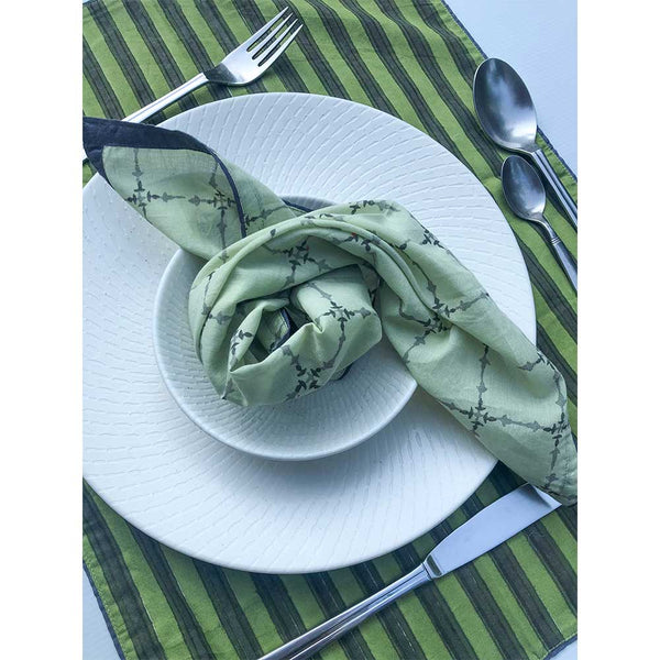 Mix and Match Collection-Green, Black and Grey,  Diya and Stripe Placemats with Napkins (Set of 4)