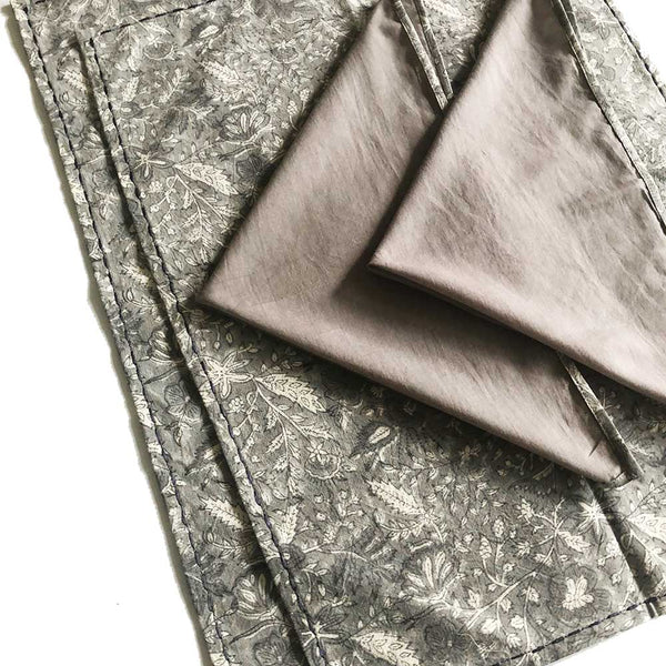 Mix and Match Collection - Black, Grey and White, Floralscape Embroidered Placemats with Napkins (Set of 2)