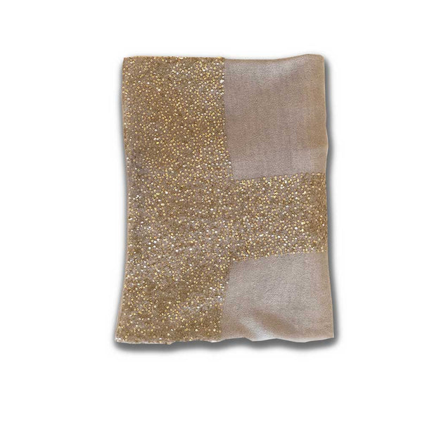 Grey with gold sequins cashmere scarf