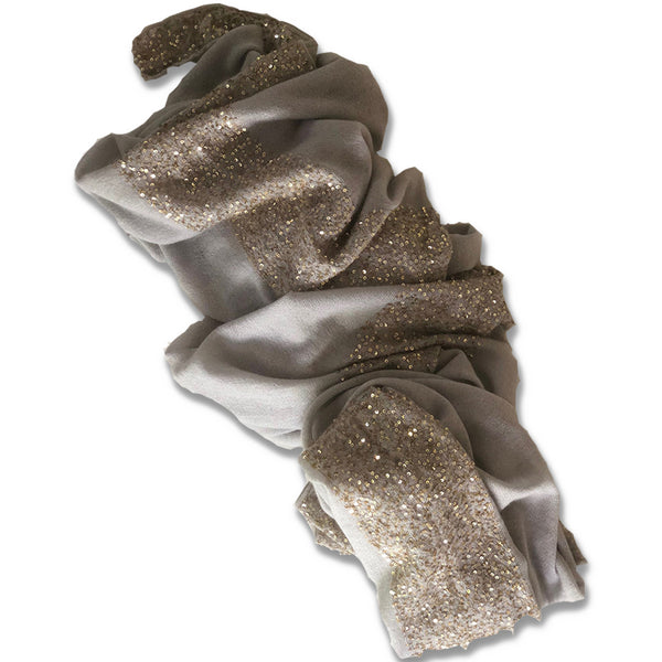 Soft luxurious grey and gold cashmere shawl