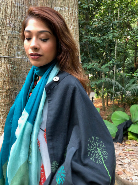 Hygge Forest 100% Cashmere Green Colour Block Scarf