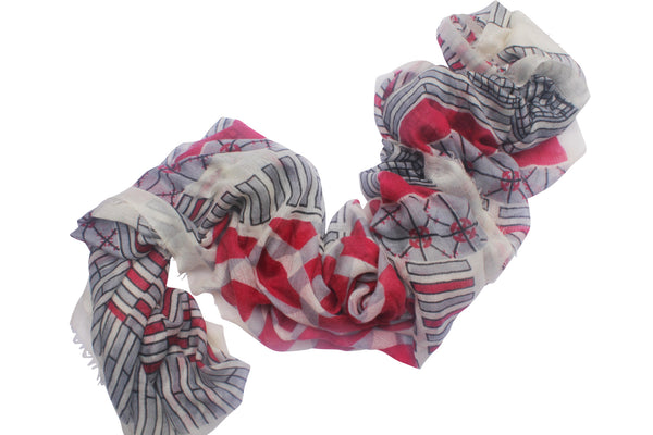 Red White Black Ayesha 100% Cashmere Soft Decogrid Long Scarf