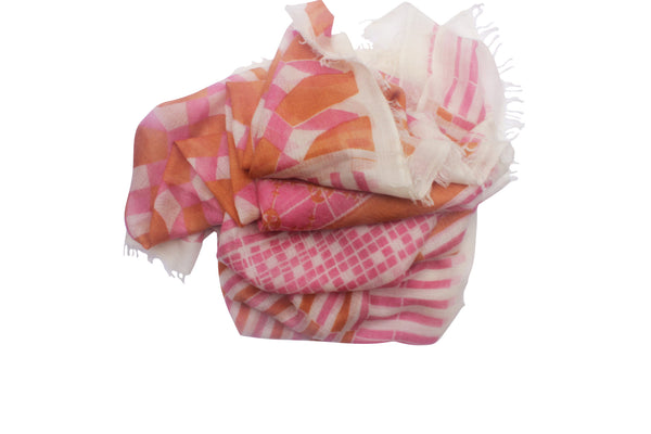 100% Cashmere Pink Scarf Geometric Print By Ayesha Cashmere Singapore