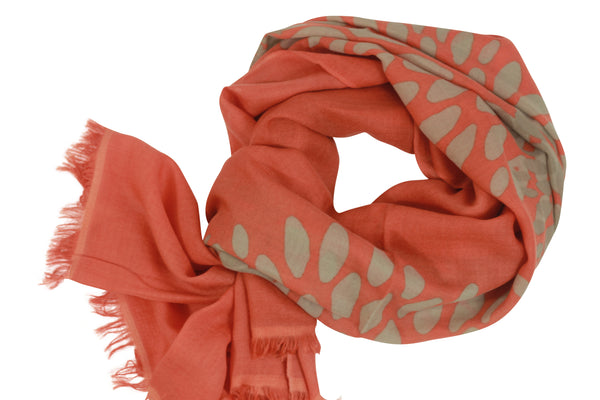 100% Cashmere Orange Coral Scarf With Floral Geometric Print by Ayesha Cashmere Singapore
