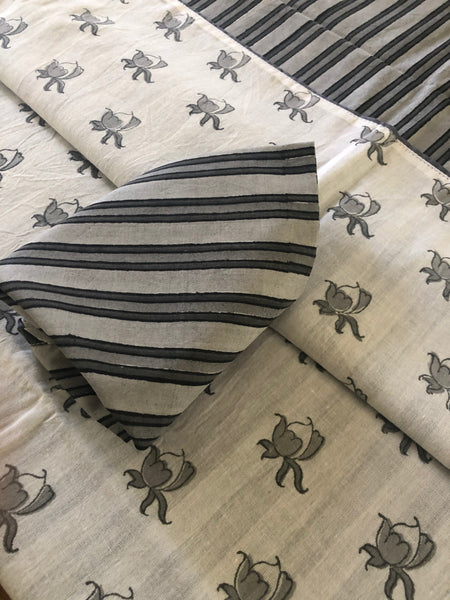 Mix and Match Collection -  Black, Grey and White,  RoseBud and Stripe Runner With Napkins