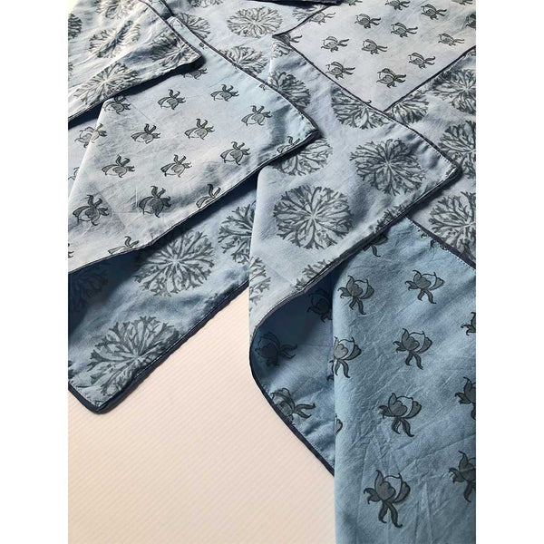 Mix and Match Collection-Blue, Black and Grey, Rosebud and Ixora Placemats with Napkins (Set of 4)