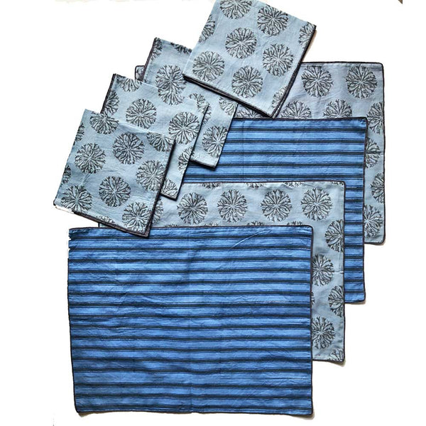 Mix and Match Collection-Blue, Black and Grey,  Ixora and Stripe Placemats with Napkins (Set of 4)