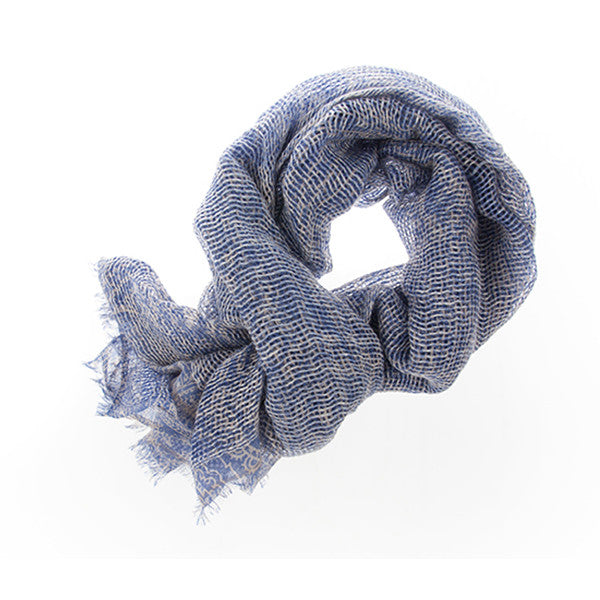 Cashmere Linen Scarf with A Paisley Print. Textured Edgy Contemporary. Unisex.
