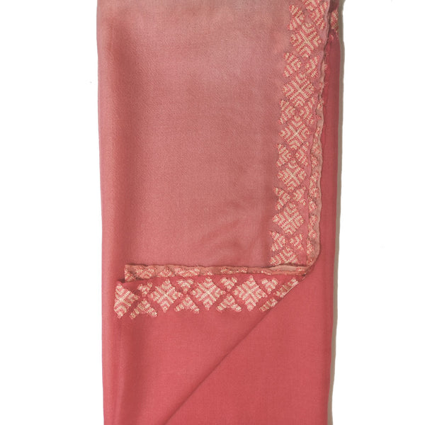 Pink Ombré With Phulkari Embroidery 100% Cashmere