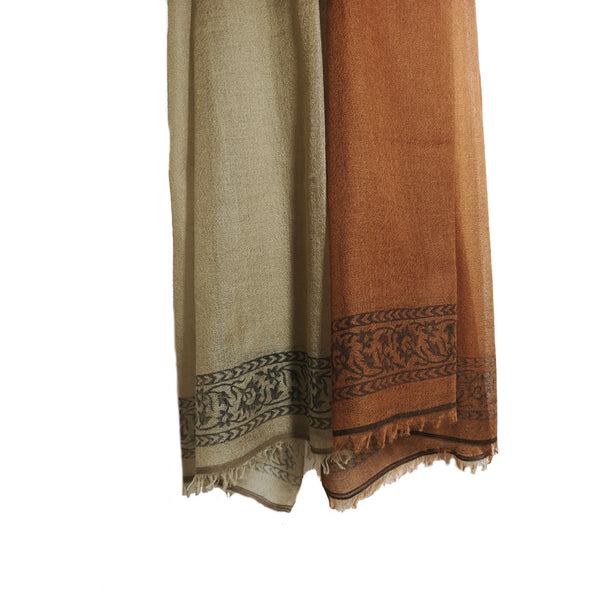 Rust Beige Orange-  3 Tone Ombré with Block Print 100% Cashmere