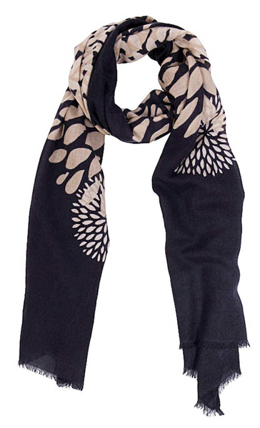 Classic Neutral Black Print Cashmere Scarf BestSeller by Ayesha.