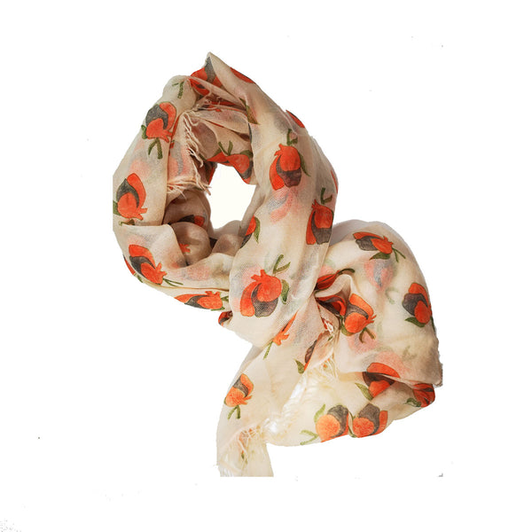 Tropical Journey Flower Bud Block Print on 100% Cashmere Twill. A Beautiful Scarf, A Special Gift, A Heritage Piece.