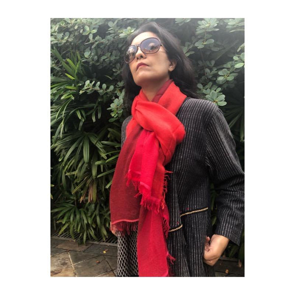Thimpu 100% Cashmere Scarf in Red Hues, Inspired By A Journey Through Bhutan