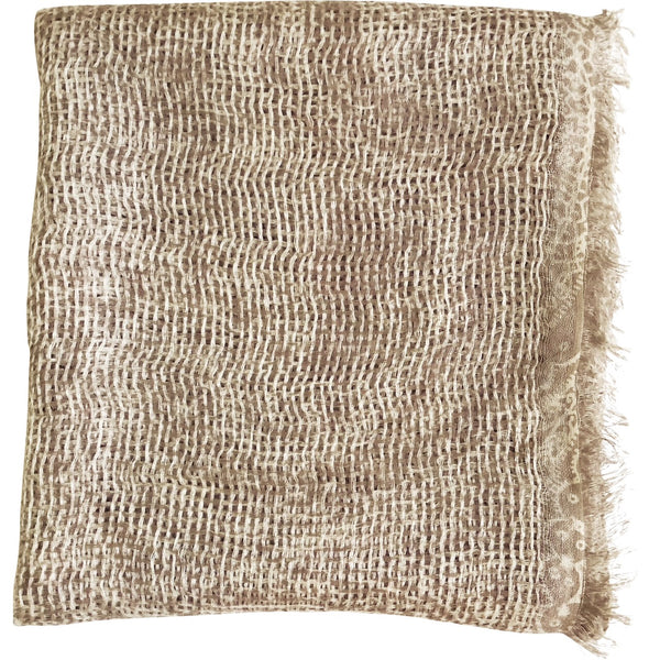 Natural Curiosities 50% Cashmere 50% Linen Long Scarf (Beige)