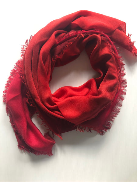 Thimpu 100% Cashmere Scarf in hues of Red, inspired by a journey through Bhutan