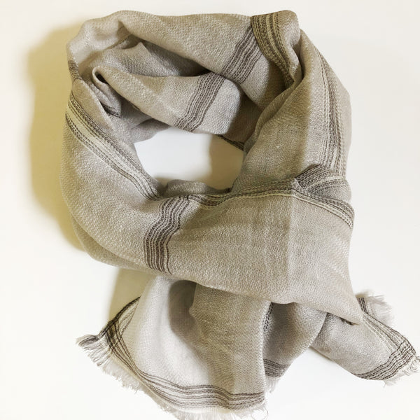 Ikat Basket 100% Cashmere Long Scarf (Grey)