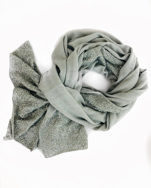 Bidri 100% Cashmere Knitted Wrap (Grey With Silver Sequins)