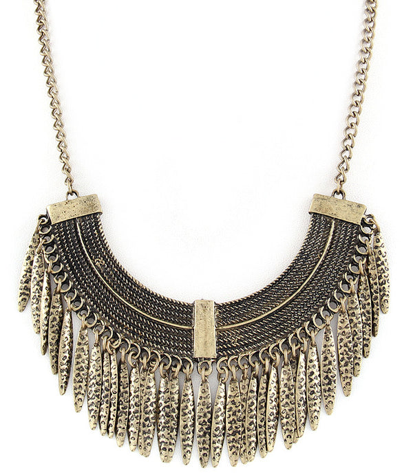GOLD LEAF BOHO STATEMENT NECKLACE