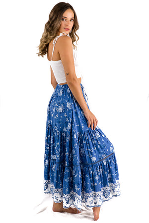 Cool Change Maxi Skirt Blue