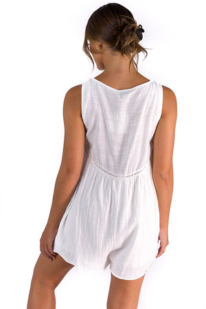 Meet Me In Oasis Playsuit White