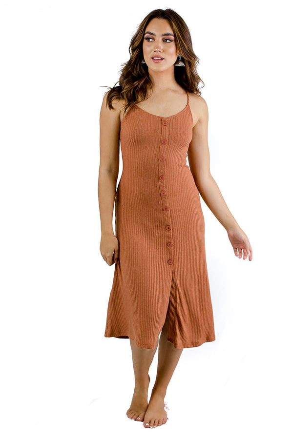 Recharge Midi Dress Burnt Orange