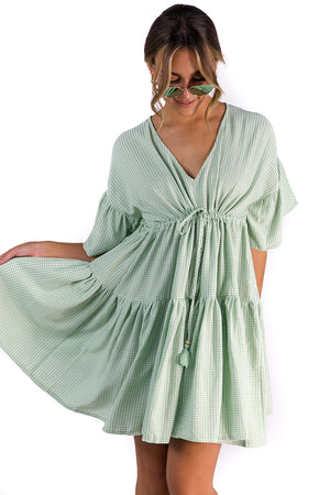 Never Forget Gingham Dress Green