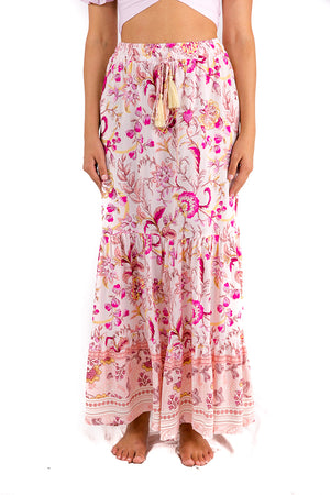 Tuscany Fields Maxi Skirt Pink