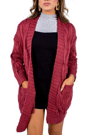 Wines By Fire Cardigan Burgundy