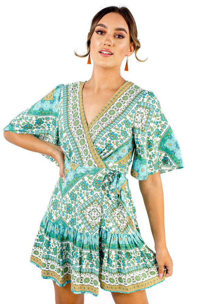 Italy Getaway Dress Green Blue