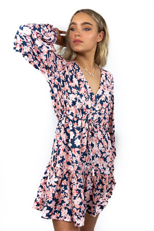 Afternoon Blossom Dress Navy/Pink