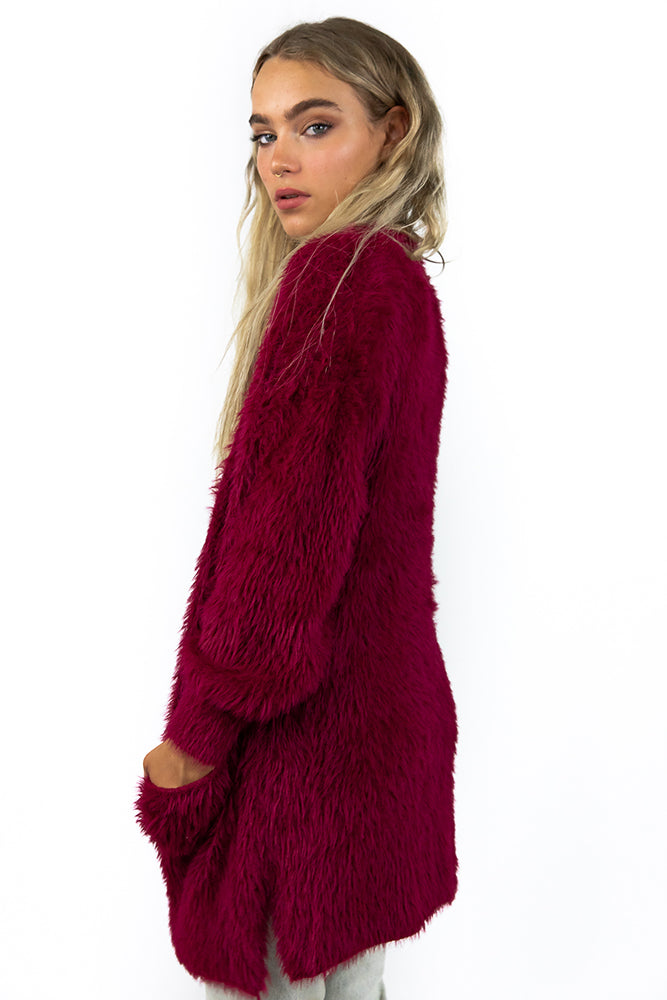 Take A Chance Cardigan Deep Berry