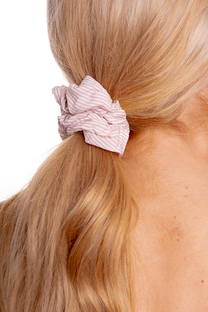 Light Pink Striped Scrunchie