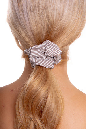 Beige Striped Scrunchie