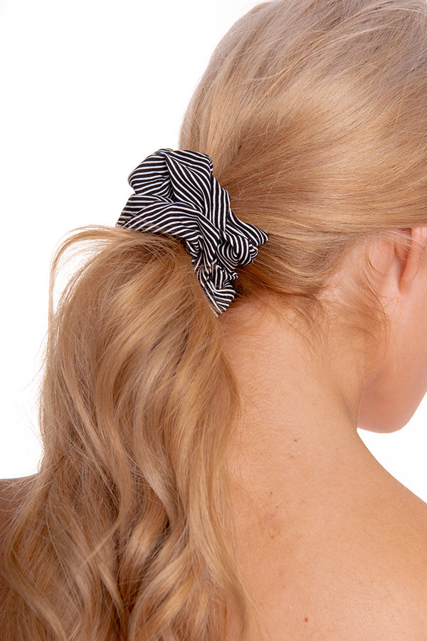 Black Striped Scrunchie