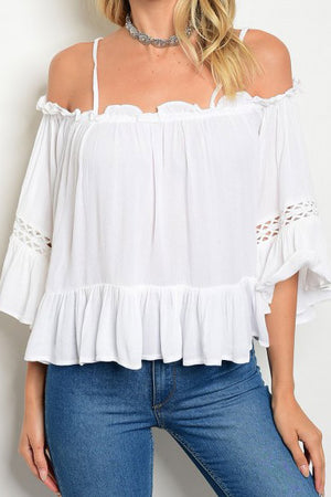 WHITE CROCHET DETAIL TOP