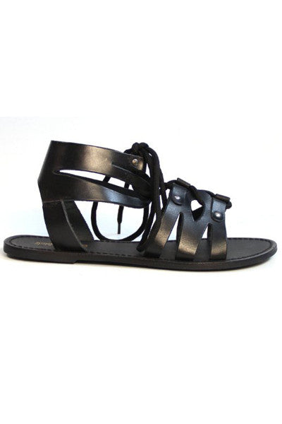 HOKU BLACK STRAPPY LEATHER SANDALS