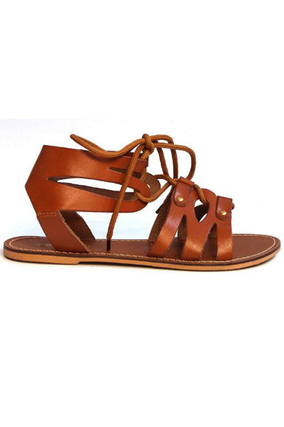 HOKU TAN STRAPPY LEATHER SANDALS