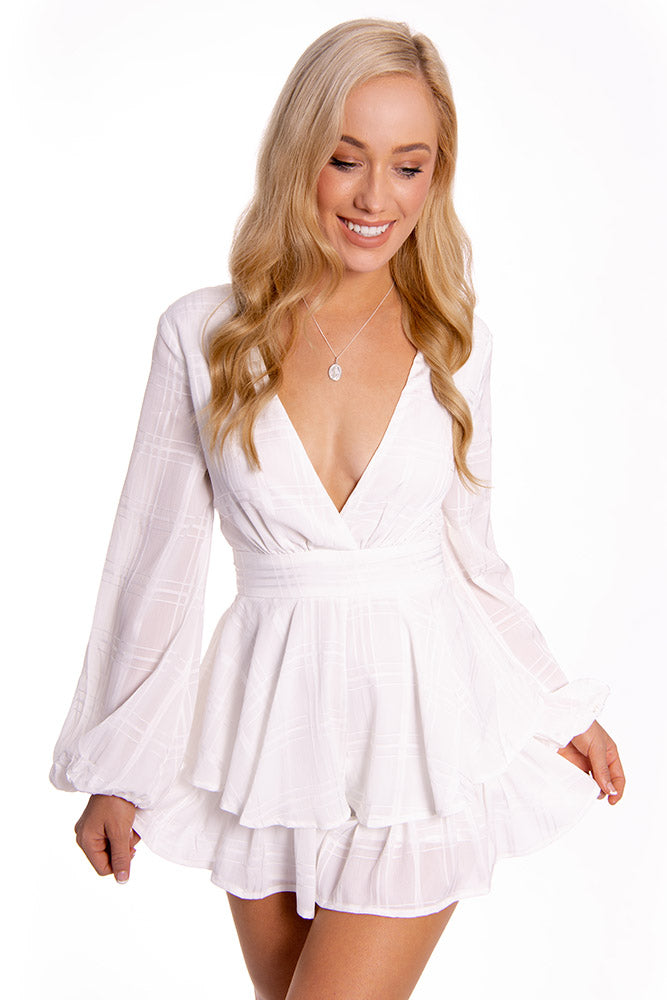 Hide and Seek Playsuit White