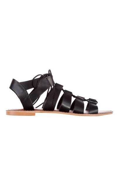 ISHKA BLACK LEATHER LACE UP SANDAL