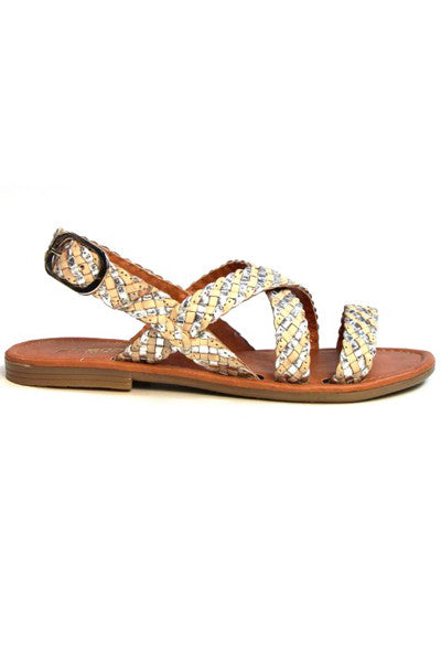 KAHUNA SILVER BONE WEAVE WRAP SANDALS