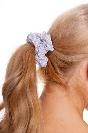 Light Blue Striped Scrunchie